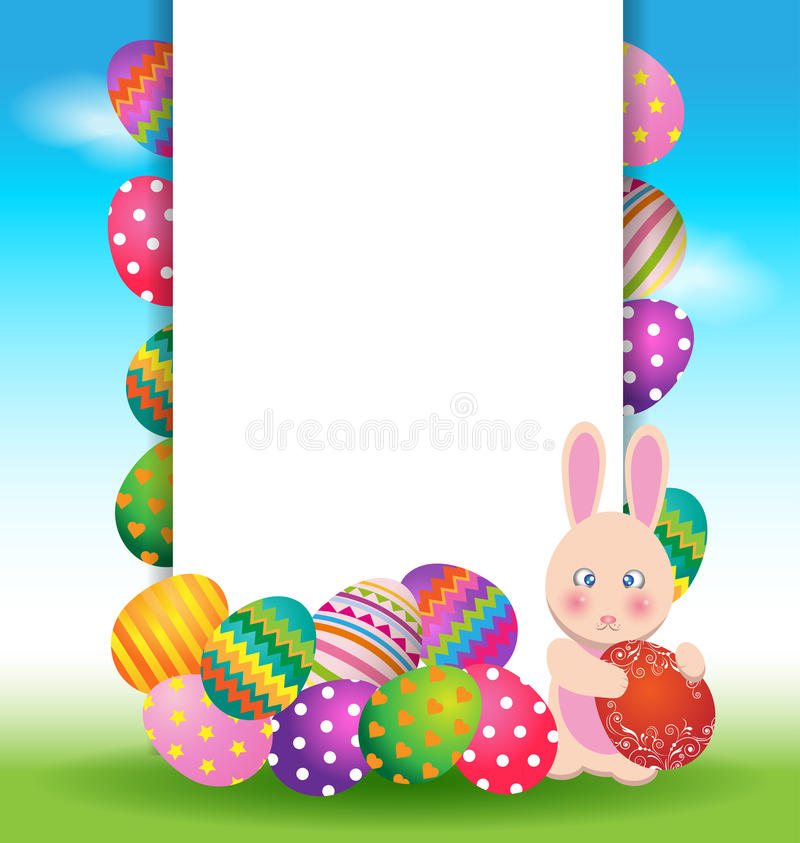 五颜六色的鸡蛋和兔宝宝复活节天贺卡的 库存例证