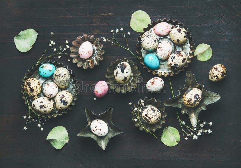 五颜六色的鹌鹑蛋、干野花和叶子,复活节假日 库存图片