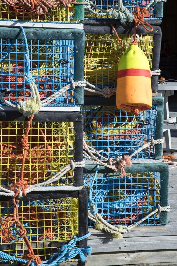 五颜六色的龙虾陷井 免版税图库摄影
