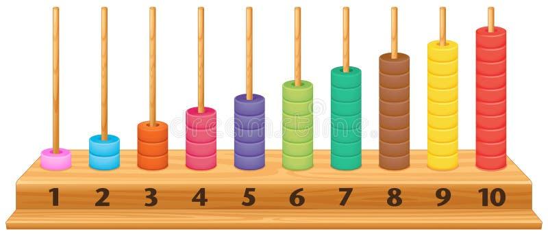 五颜六色的1到10算盘 库存例证
