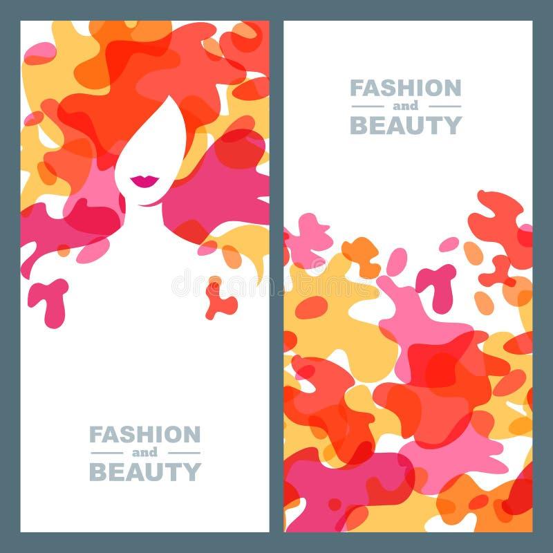 五颜六色的头发妇女 套传染媒介标签,横幅,海报设计元素 皇族释放例证