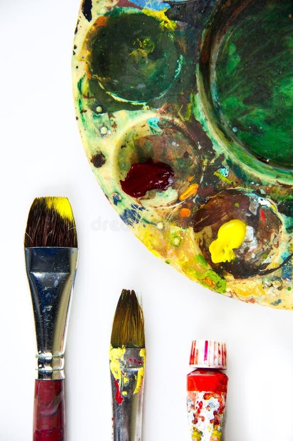 五颜六色的绘画工具 库存照片