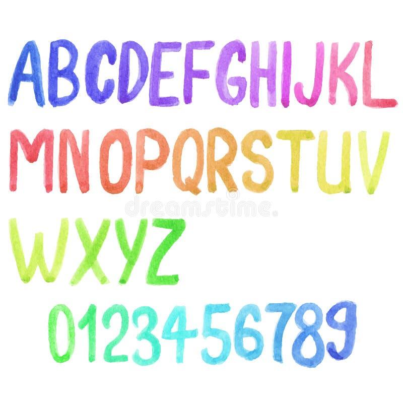 五颜六色的水彩字体,水彩画 向量 向量例证