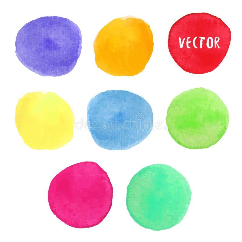 五颜六色的水彩设计元素 传染媒介水彩圈子污点隔绝了汇集 水彩调色板 库存例证