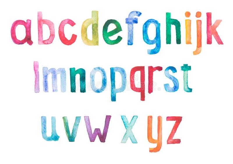 五颜六色的水彩水彩画字体类型 库存例证
