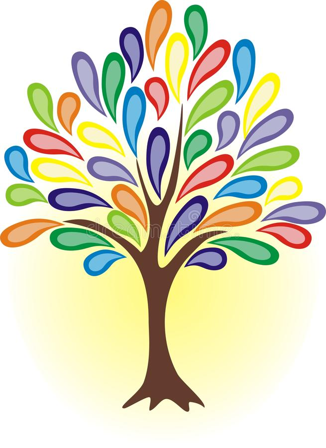 五颜六色的结构树 库存例证