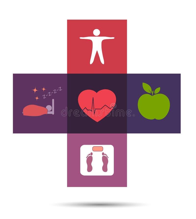 五颜六色的医疗保健十字架标志 向量例证