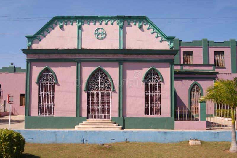 五颜六色的建筑学在马坦萨斯,古巴 免版税库存图片