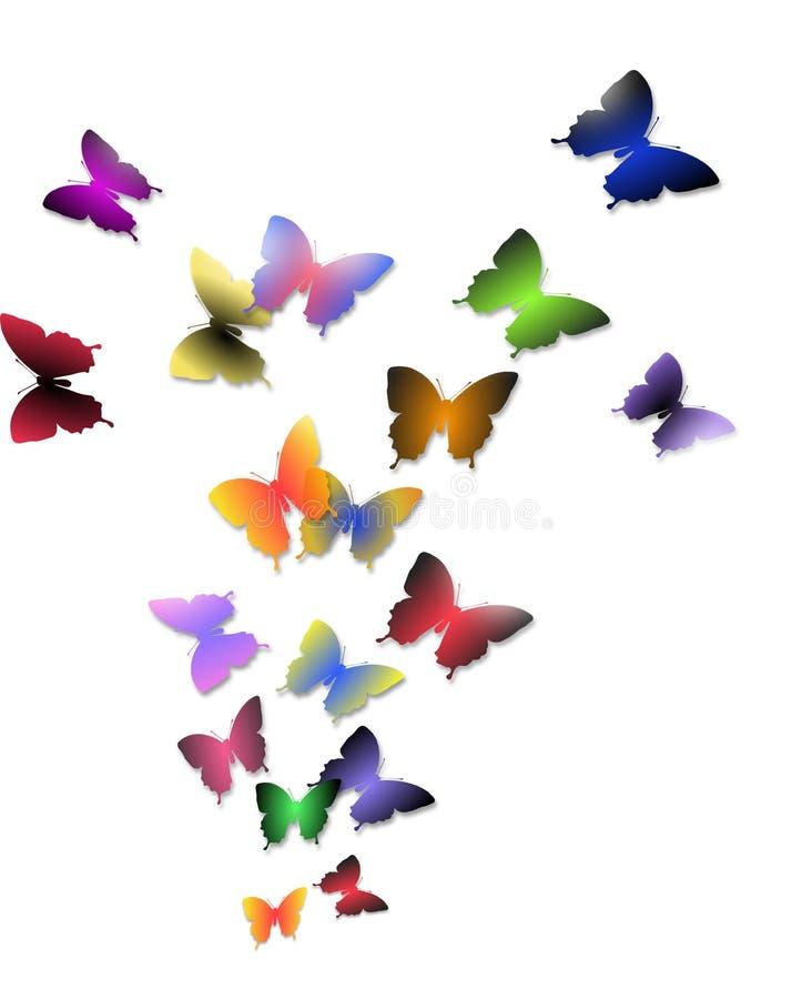 五颜六色的蝴蝶飞行的例证  免版税图库摄影