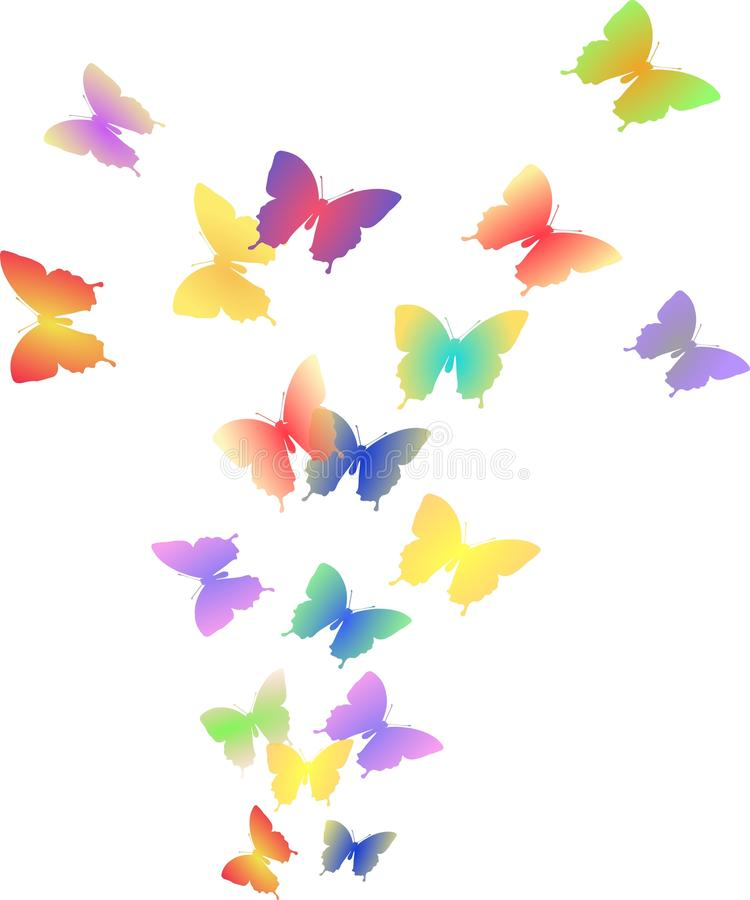 五颜六色的蝴蝶飞行的例证  免版税库存照片