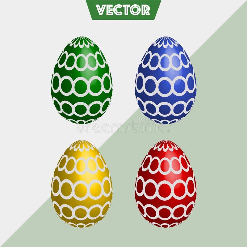 五颜六色的3D传染媒介复活节彩蛋圈子 免版税库存图片