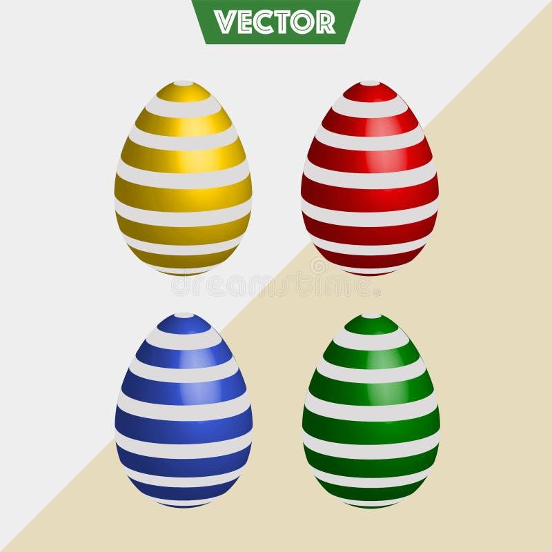 五颜六色的3D传染媒介复活节彩蛋条纹 免版税库存图片