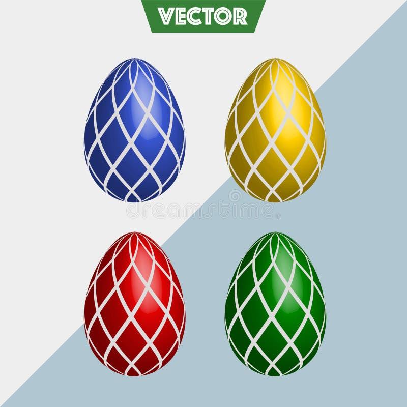 五颜六色的3D传染媒介复活节彩蛋检查 免版税库存图片