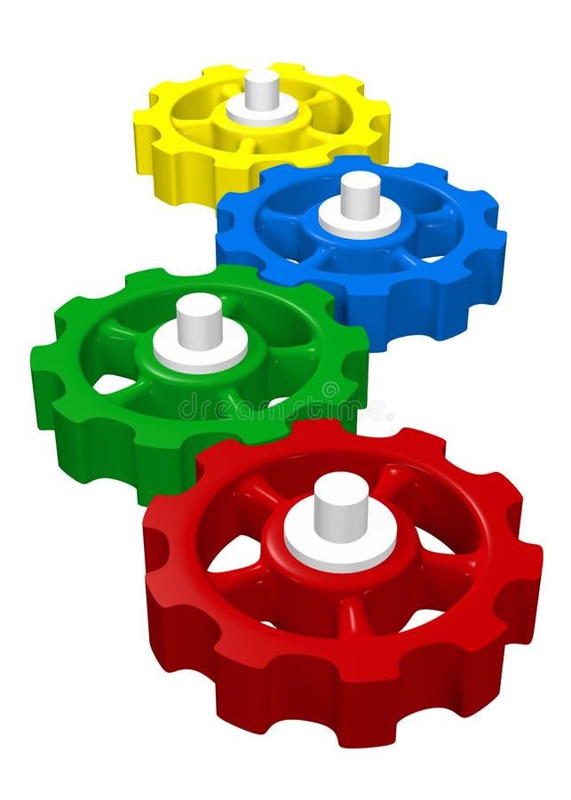 五颜六色的3D连结的齿轮 皇族释放例证