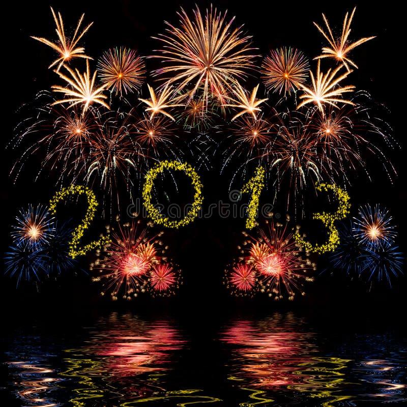 五颜六色的2013新年度烟花 免版税库存图片