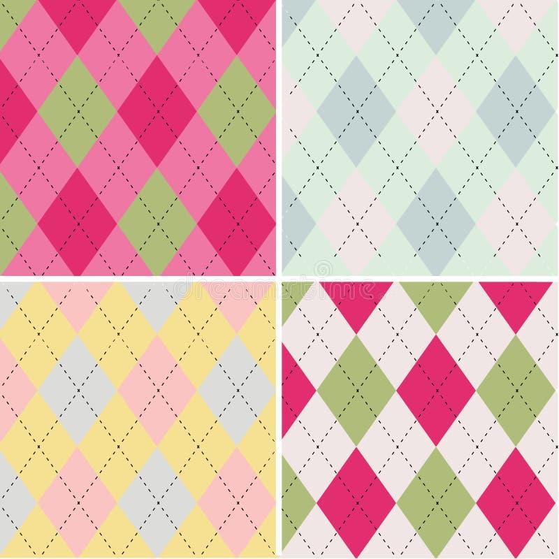 五颜六色的argyle样式无缝的样式织品纹理 向量例证