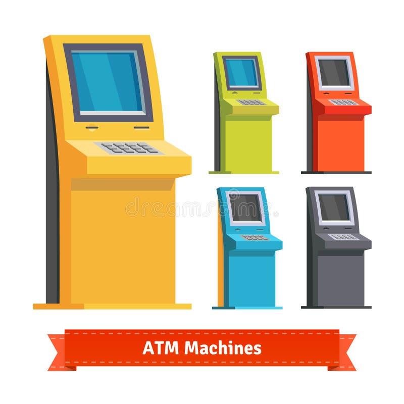 五颜六色的ATM机器、终端或者信息报亭 皇族释放例证