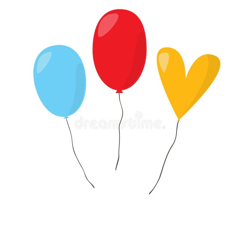 五颜六色的Baloons 向量例证