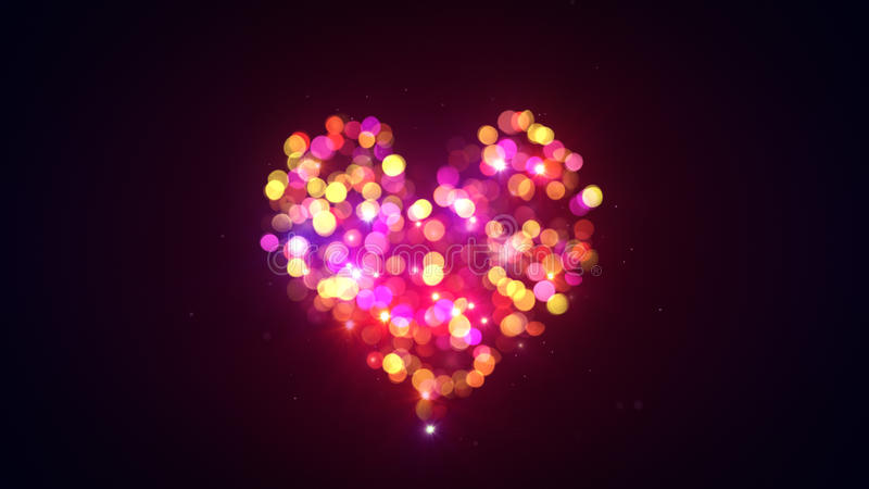 五颜六色的bokeh点燃心脏形状 向量例证