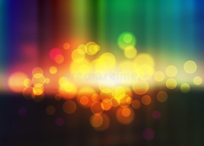五颜六色的Bokeh背景,多色被弄脏的墙纸,彩虹样式,传染媒介例证 库存例证