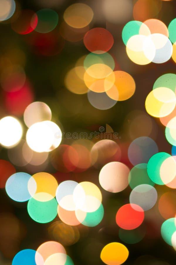 五颜六色的bokeh背景;圣诞灯背景 库存图片
