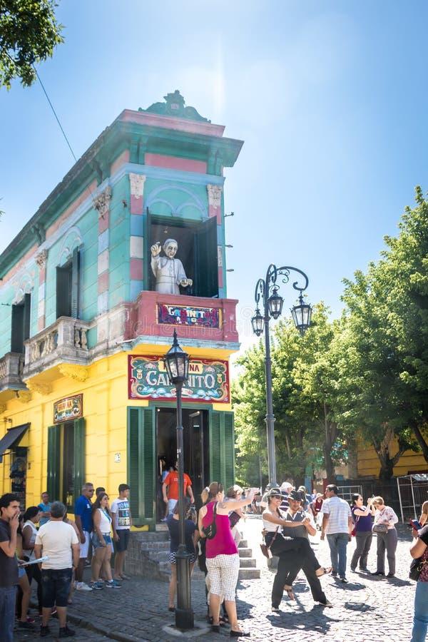 五颜六色的Caminito街在拉博卡-布宜诺斯艾利斯,阿根廷 免版税图库摄影