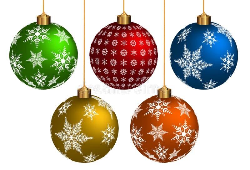 五颜六色的Chrismas球 向量例证