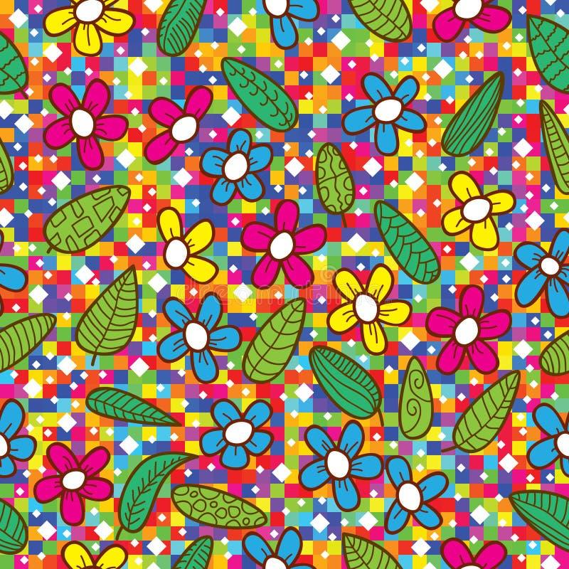 五颜六色的eps开花叶子马赛克模式 向量例证
