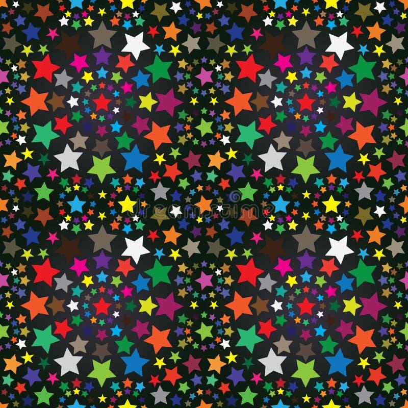 五颜六色的eps模式无缝的星形 向量例证