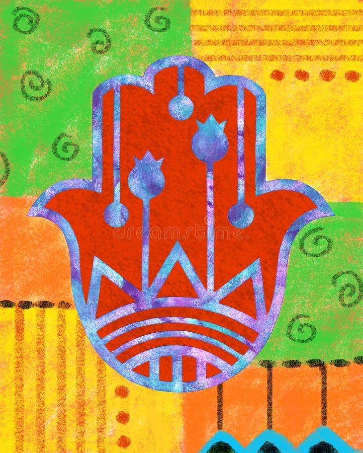五颜六色的Hamsa 库存例证