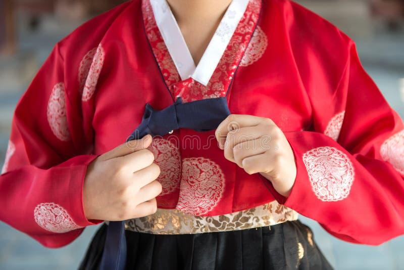 五颜六色的Hanbok,韩国传统礼服 免版税库存照片