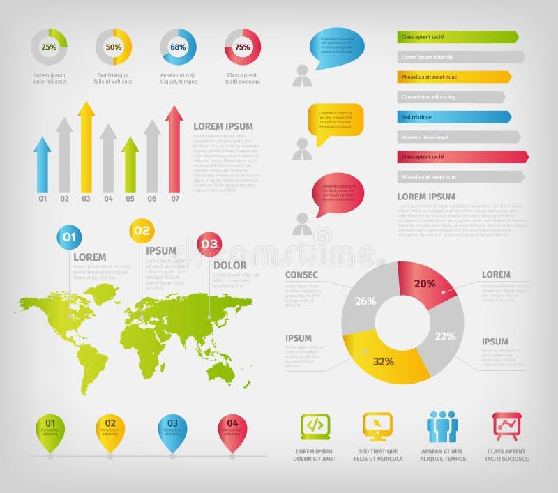 五颜六色的infographics元素 向量例证