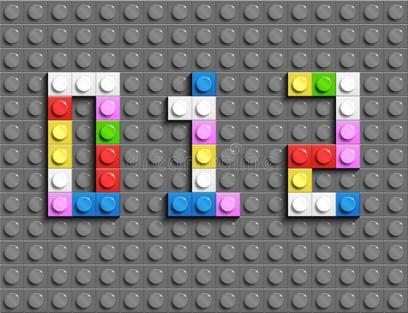 五颜六色的lego从塑料大厦lego砖第7,8,9 五颜六色的传染媒介lego数字 灰色lego背景 向量例证