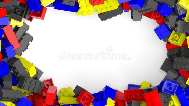 从五颜六色的lego块的框架 皇族释放例证