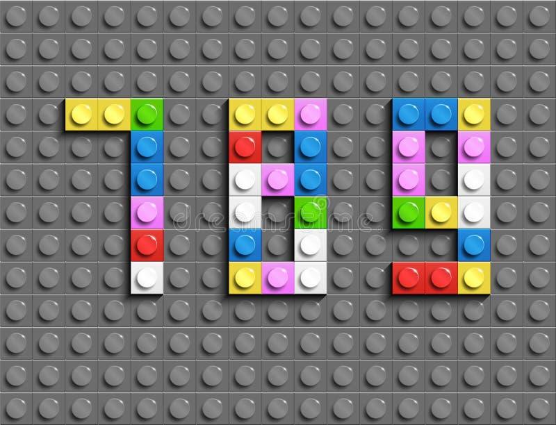 五颜六色的lego编号7,8,9from塑料大厦lego砖 五颜六色的传染媒介lego数字 灰色lego背景 皇族释放例证