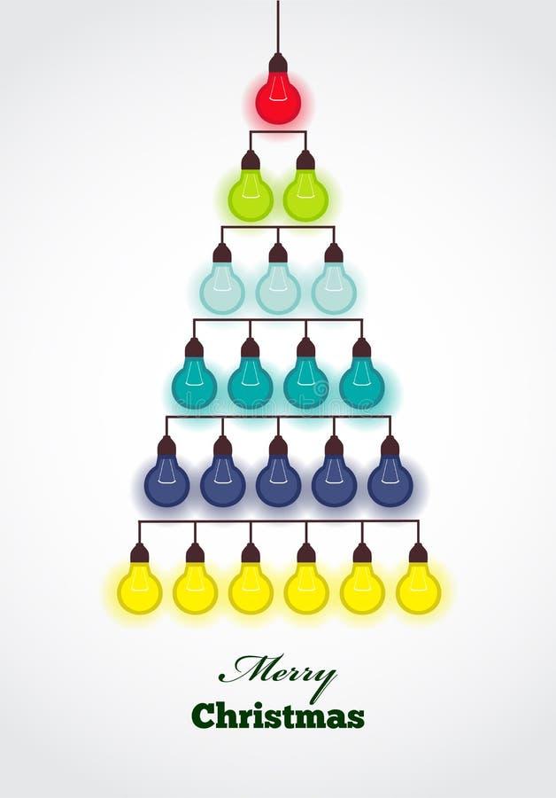 从五颜六色的lightsbulbs创造的圣诞树 向量例证