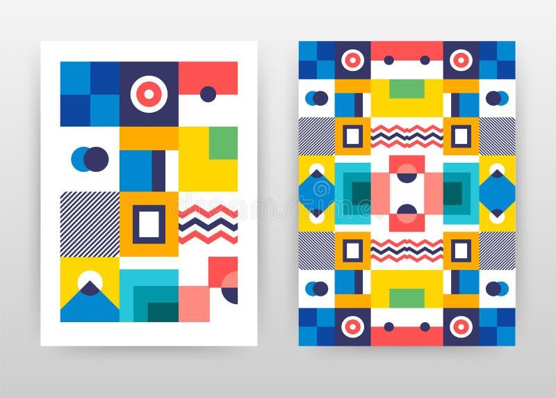 五颜六色的minimalistic摘要企业年终报告小册子飞行物设计 色的抽象小册子模板,包括盖子和 皇族释放例证