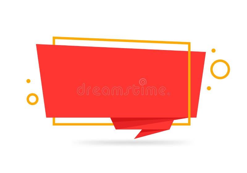 五颜六色的Origami样式贴纸和横幅模板设计 背景查出的白色 您的文本、网站和项目的空白 向量例证