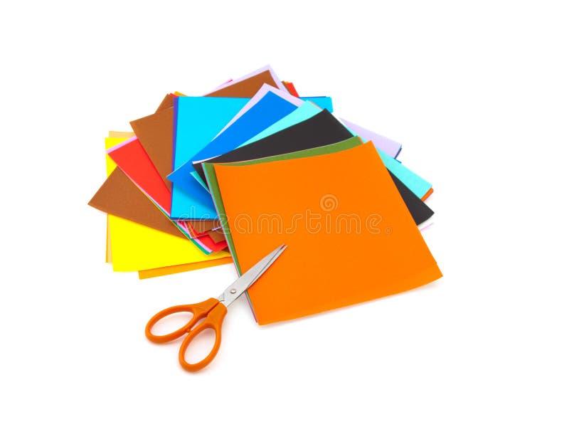 五颜六色的origami纸张 库存图片