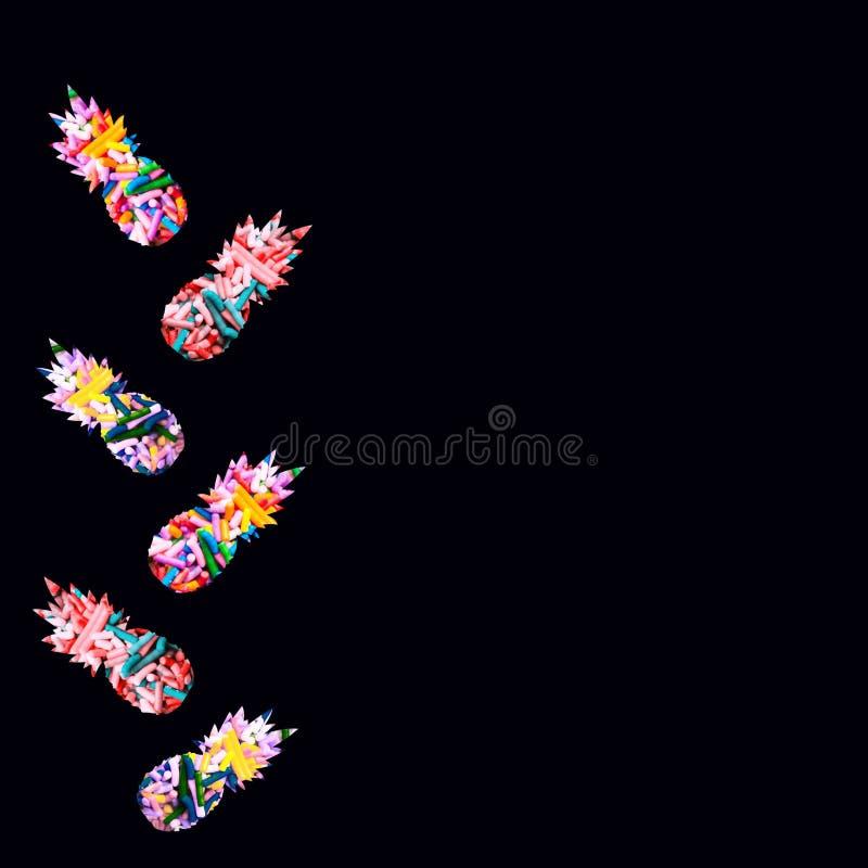 五颜六色的pineaplles,例证艺术 免版税库存图片