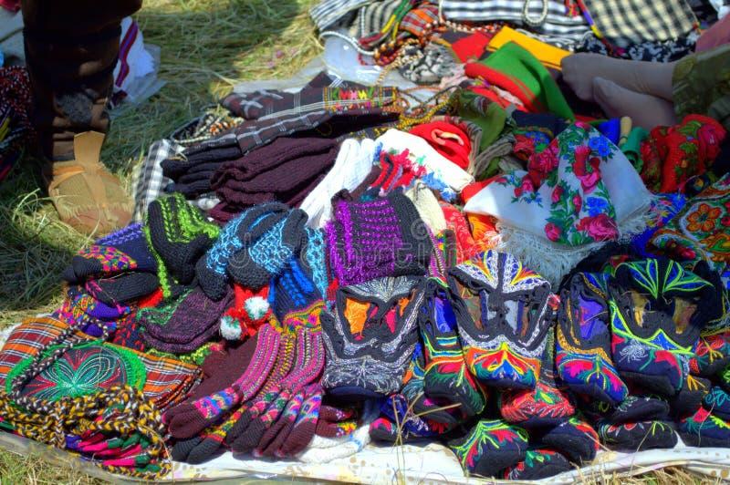 五颜六色的Rodopian被编织的袜子 免版税图库摄影