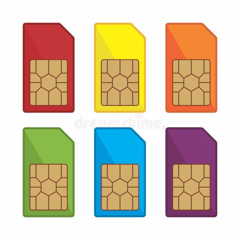 五颜六色的sim卡片传染媒介象 皇族释放例证