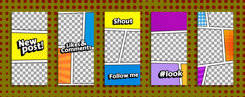 五颜六色的strories模板 向量例证