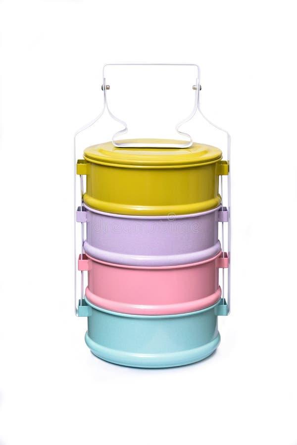 五颜六色的tiffin,在白色背景隔绝的食物载体 免版税图库摄影