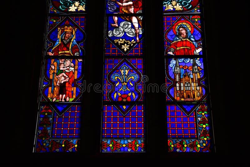 五颜六色的Vitraux 拉普拉塔大教堂  库存照片