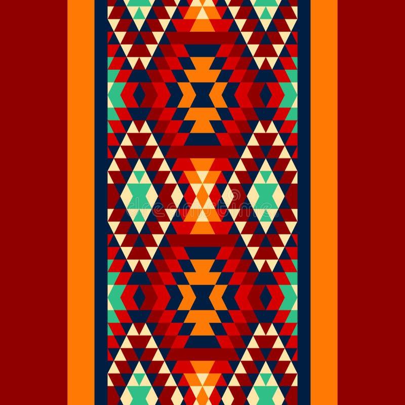 五颜六色红色黄色蓝色和和黑阿兹台克装饰品几何种族无缝的边界,传染媒介 皇族释放例证