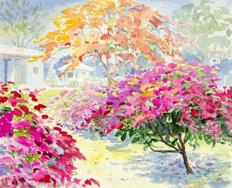 绘五颜六色纸花在庭院里 库存例证