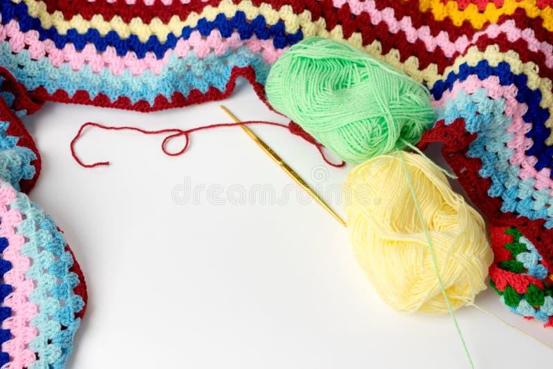 五颜六色编织的钩针编织 免版税库存照片