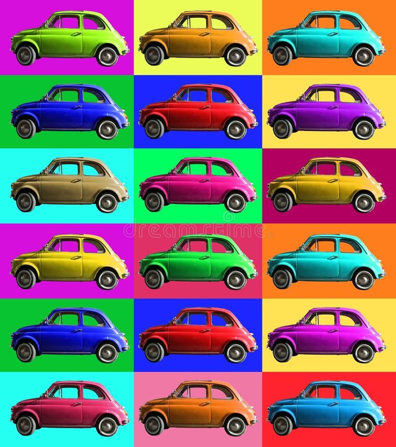 五颜六色老葡萄酒汽车的拼贴画 意大利产业 在色的细胞 库存例证