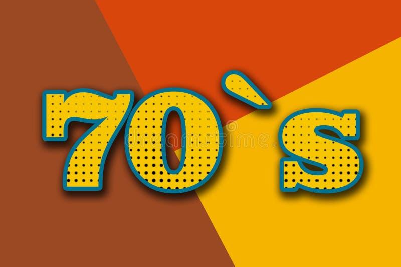 五颜六色背景上的'70'字 免版税库存图片
